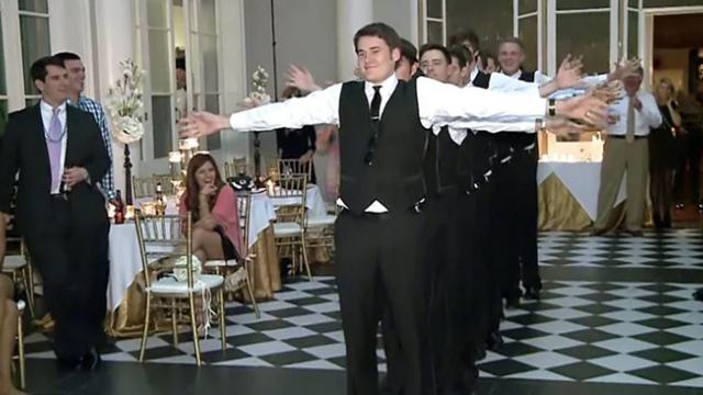 Watch this groom and groomsmen wow everyone with their hilarious dance