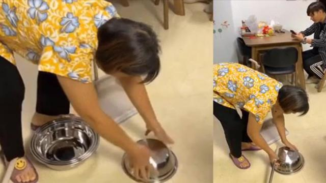 Going viral Man puts dozens of stainless steel bowl to tease his mother, anyone who watches this wou