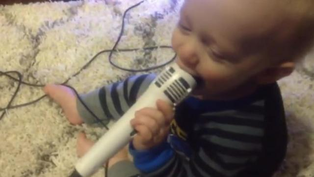 Babys reaction to Microphone will have you Laughing!