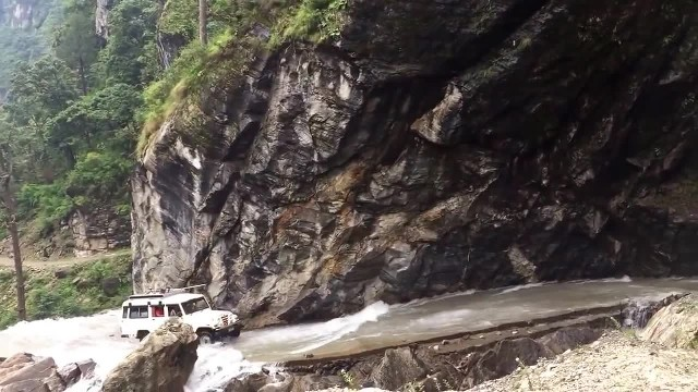 Waterfall Road. On the way to Chamé, the capital of Manang District in Nepal 17th September 2015