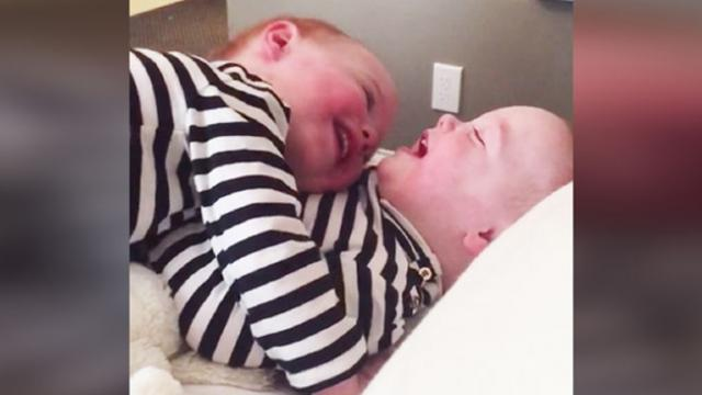Girl Loves The Sound Of Her Twin's Giggle— Completely Loses It In Adorable Video!