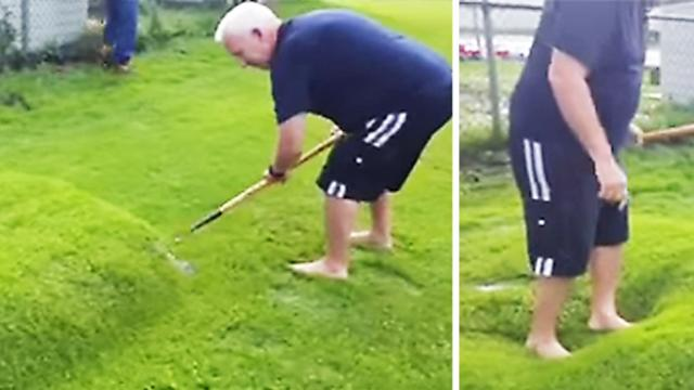 Man discovers huge 'lawn bubble' after heavy rain, but when