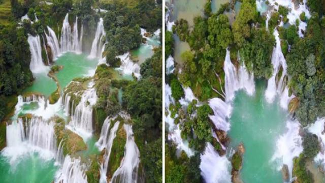 A blue jade waterfall on earth is between China and Vietnam in