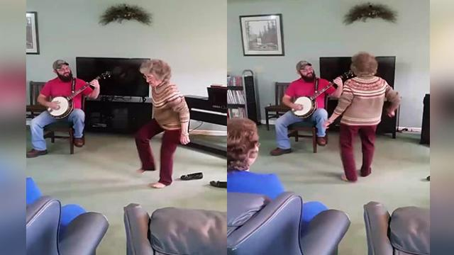 Funky 85-Yr-Old Kicks Off Shoes, Starts Dancing In Middle Of Nursing Home Concert.