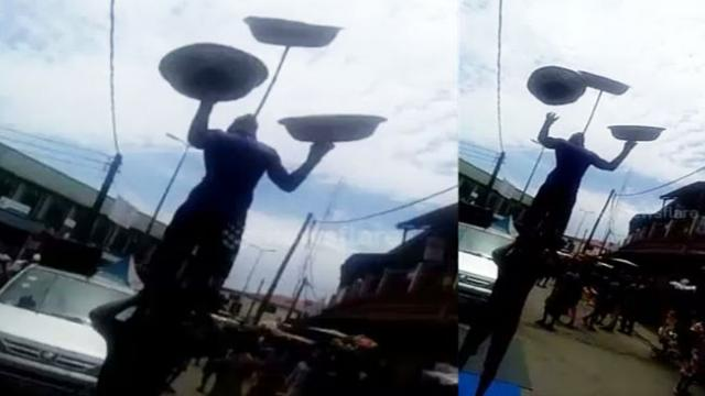 Amazing acrobatic performing in the street of Takoradi
