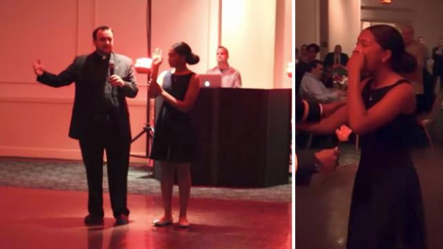 Army Dad Arranges Emotional Surprise For His Girl At Her Father-Daughter Dance.