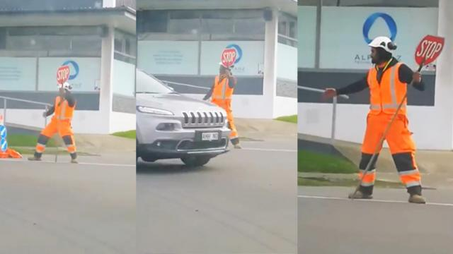 Road Worker Brings Cheer to Porirua Commuters Stuck in Traffic