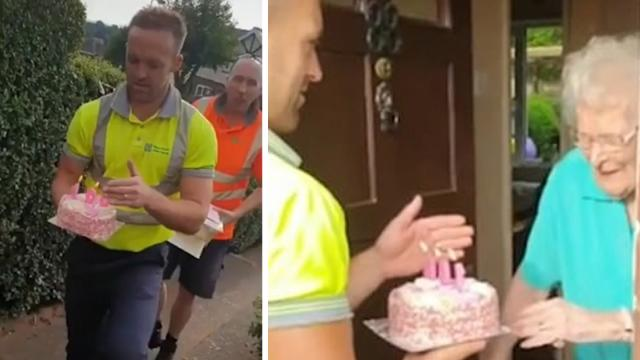 Bin collectors surprise favourite customer with 100th birthday
