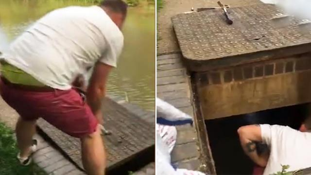 Heroic dad crawls inside storm drain, wades through