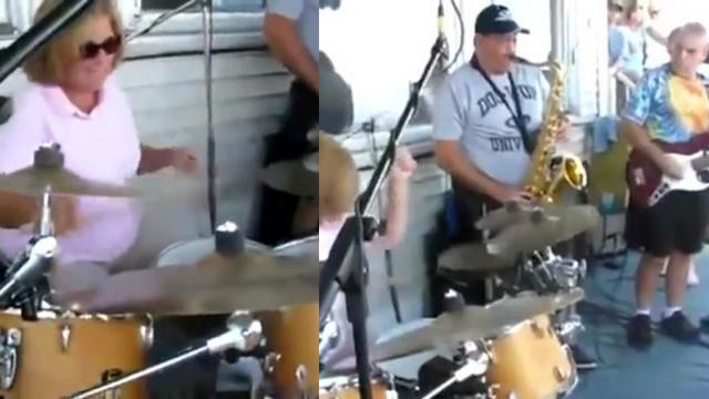 This Mom is Better at the Drums Than You