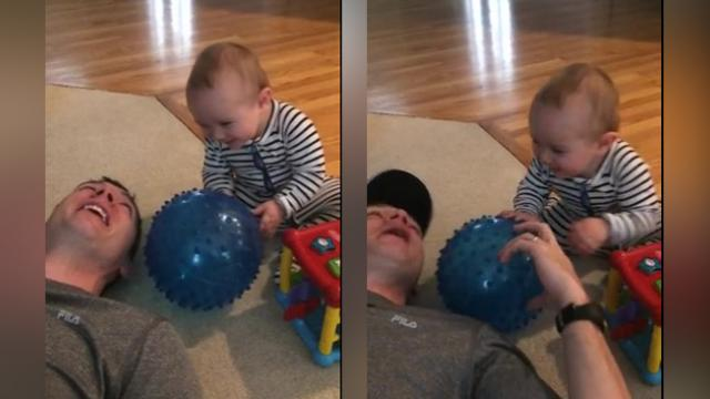 Baby Pulls Innocent Prank On Dad, Giggles Uncontrollably