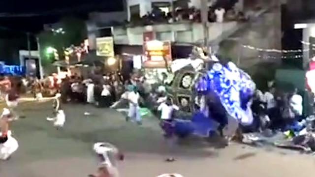 Rampaging elephant runs wilds and tramples 18 people in terrifying video from Buddhist ceremony in S