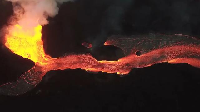 Aerial view of fissure 8 at Hawaii's Kilauea volcano on June 29