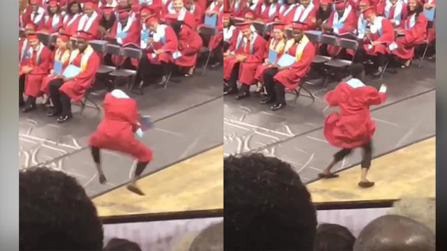 High school graduate's celebratory dance after receiving diploma went viral