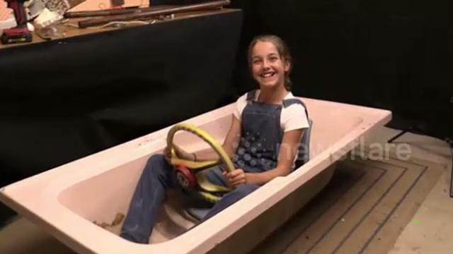 Intelligent 11-year-old girl inspired by grandfather creates her own 'bathtub boat'