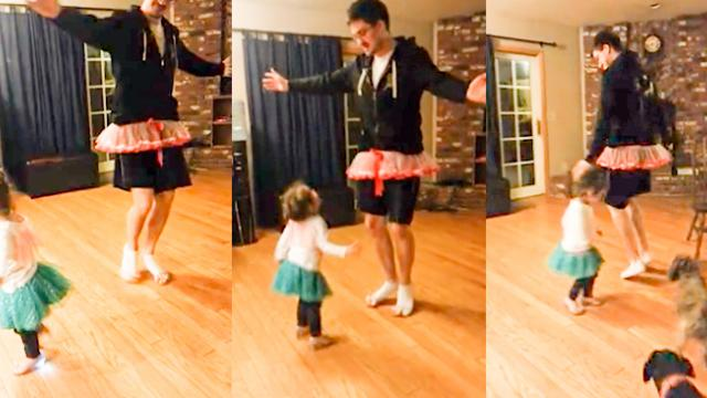 Adorable moment doting dad plies and pirouettes in a tutu to teach daughter ballet