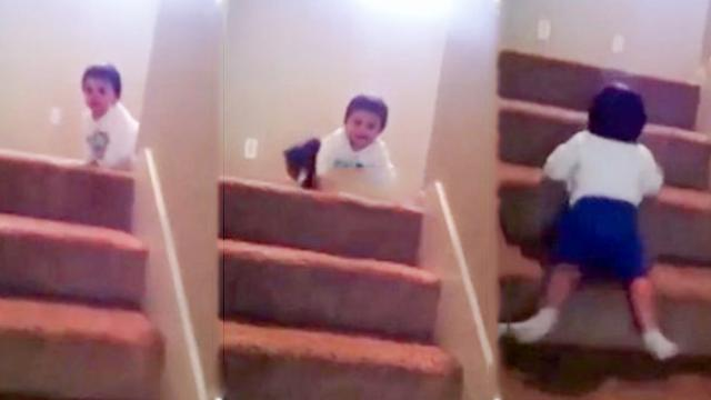 Who needs a slide when the stairs will do fine-
