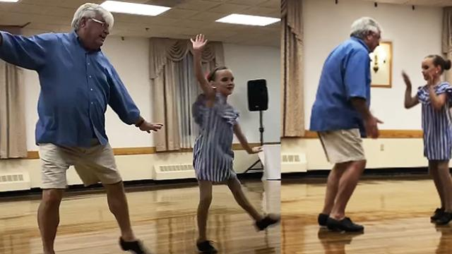Tap duo, 10 year old and her Grandfather