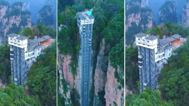 Drone footage shows the worlds tallest outdoor elevator