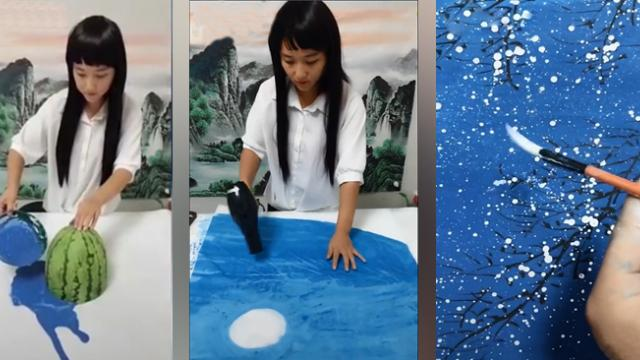 Girl surprises netizens about drawing virtual pictures with simple tips