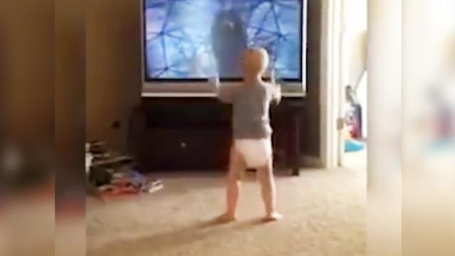 Baby Watches Rocky And Thinks He's The Next Sylvester Stallo