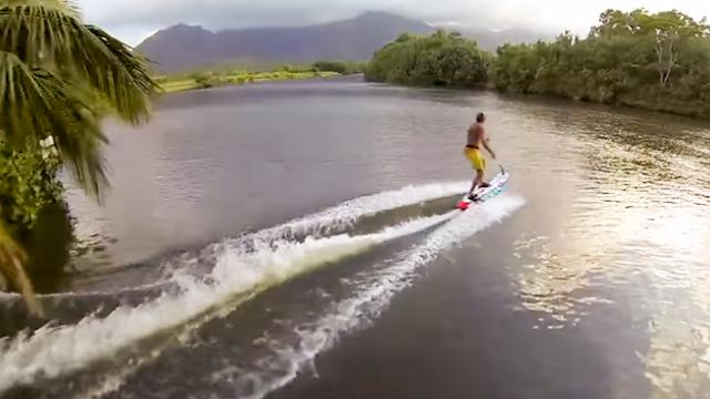 Laird Hamilton on motorized surfboard Jetsurf