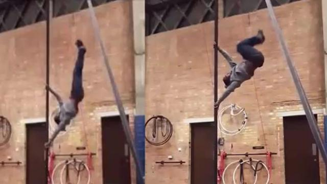 Talented man is able to climb a pole by quickly kicking his