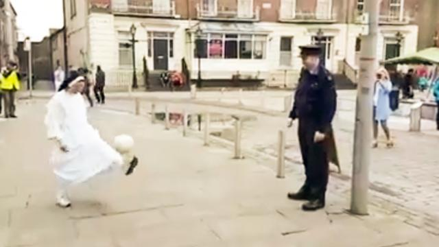 WATCH: This viral video of a nun playing keepy-uppy with a policeman is so much fun