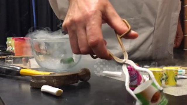 Australian science teacher uses liquid nitrogen to smash miniature plastic toys