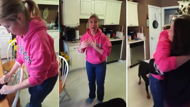 Woman surprises her mother with pregnancy news—but her
