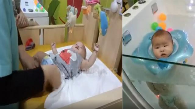 Adorable baby relaxing at spa that makes people can't hold their laugh!