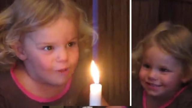 Little Girl Cant Blow Out Candle