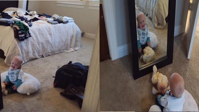"Baby Can't Stop Laughing At His Adorable ""Twin"" In The Mirror."
