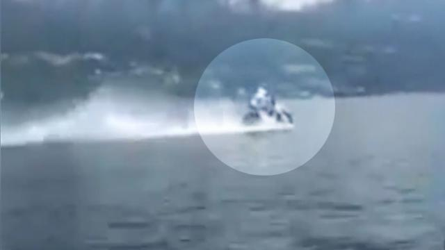 Daredevil rider uses motorcycle to surf 5km across