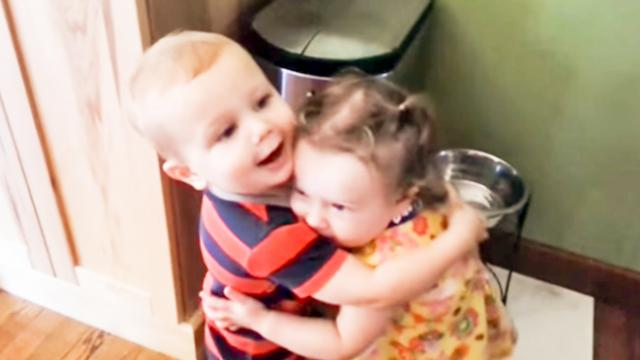 Boy's priceless reaction after hugging girl for first time