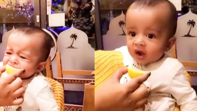 Ex-squeeze me- Hilarious footage shows baby disgusted when mum feeds him lemon