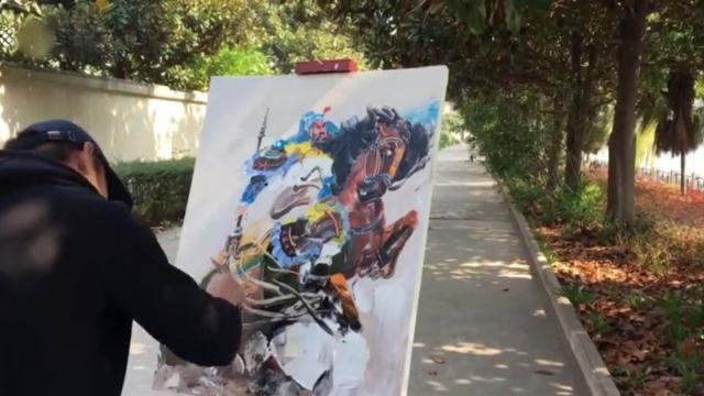 Chinese artist uses cleaver and scraper to create oil painting_Medium