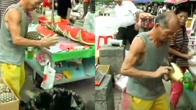 Man Peels Off Pineapple Like Real-Life Fruit Ninja Vendor!