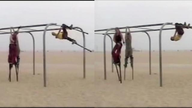 Man On Stilts Pulls Off Amazing Jungle Gym Trick Almost_Large