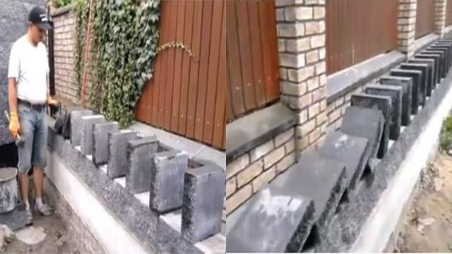 No need for cement or brick mortar, man builds brick wall only with domino effect
