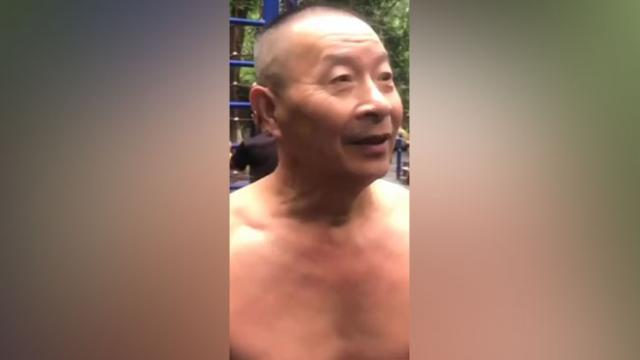 Chinese grandfather shows off training with various workout movements