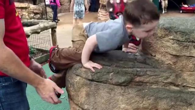 Future Rock Climber Is Determined To Make It To The Top!