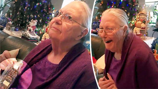 Grandma doesn't look happy after getting 'cell phone' for