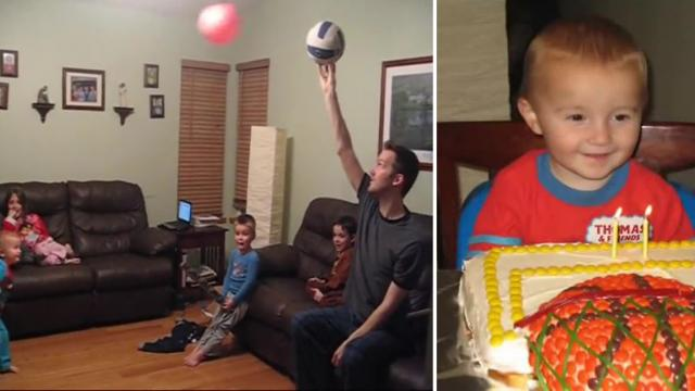 Toddler Performs Amazing Toy Basketball Trick Shot