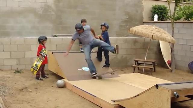 Wannabe Skater Dad Attempts DIY Backyard Ramp