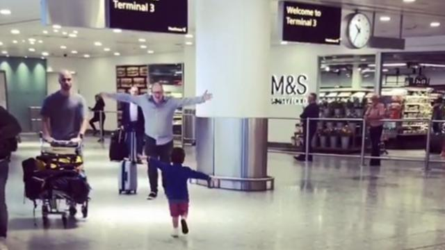 Child Reunites With Dad at Airport