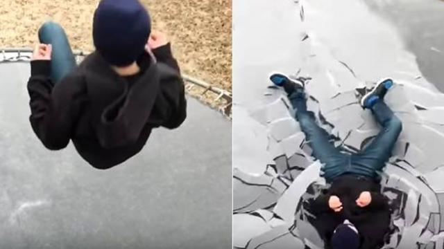 My crazy kid jumping on his buddy's ice covered trampoline