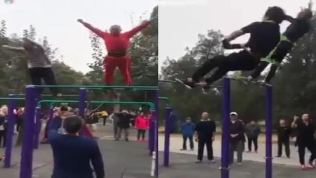 Chinese grandpas show off their amazing gymnastic skills  Feedy