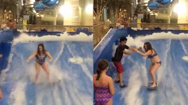 Wave Pool Surfing Lesson That Ends Horribly