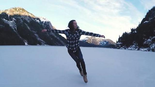 Canadian National Figure Skater at 2500 in the mountains - Shot
